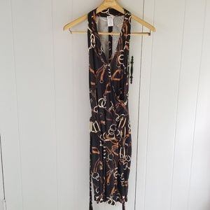 Cache Dress Belt Chain Print Regal Equestrian Sz M